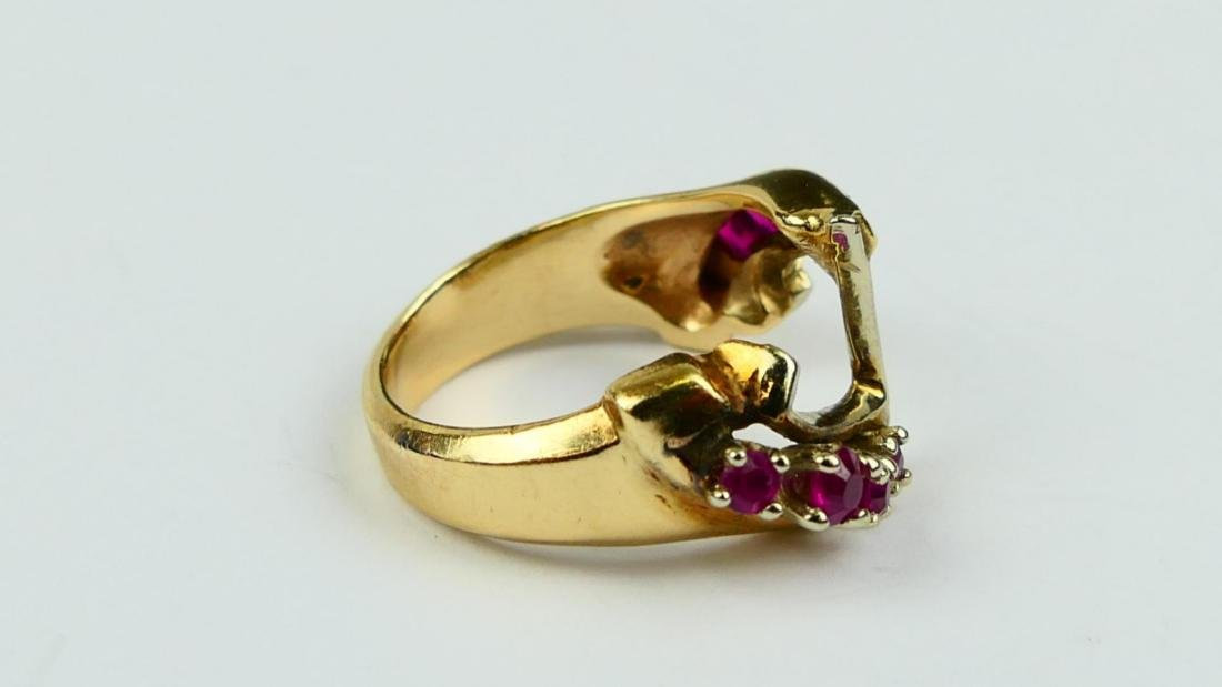 14K YELLOW GOLD PRINCESS & ROUND RUBY RING - 2