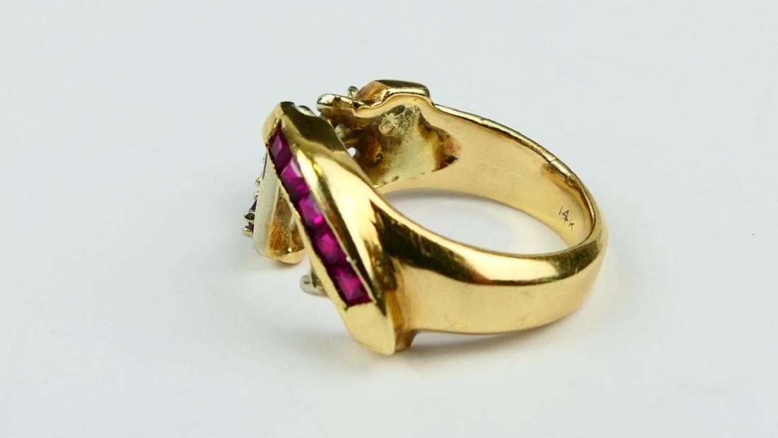14K YELLOW GOLD PRINCESS & ROUND RUBY RING - 3