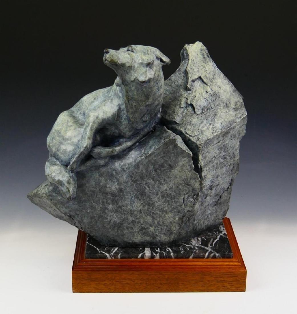 SHERRY SALARI SANDER 1985 SIGNED  BRONZE WOLF