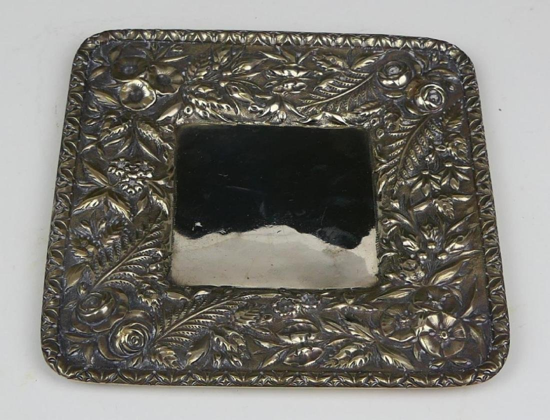KIRK & SONS REPOUSSE FLORAL STERLING DISH