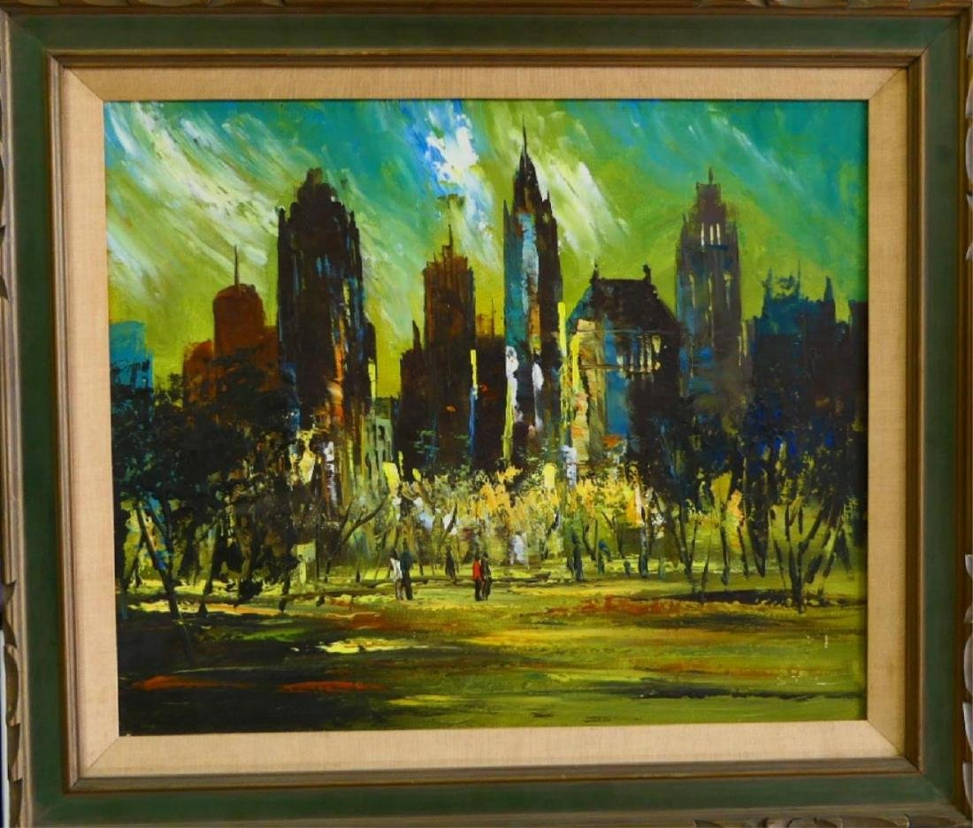 SIGNED CITYSCAPE OIL PAINTING ON CANVAS FRAMED