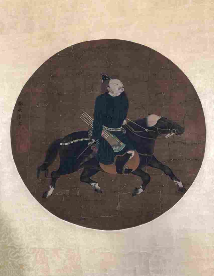 ANTIQUE CHINESE WARRIOR SCROLL OIL PAINTING