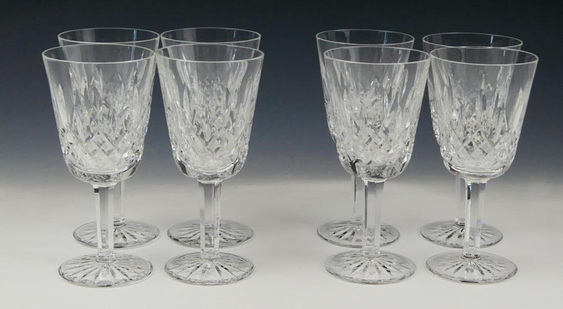 "8 WATERFORD CRYSTAL ""LISMORE"" WHITE WINE GLASSES"