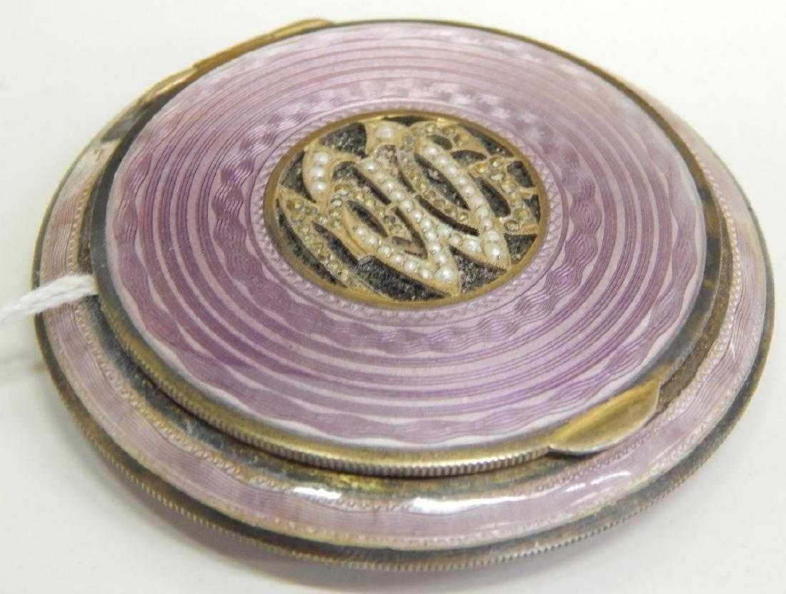 AUSTRIAN JEWELED GUILLOCHE ENAMEL STERLING COMPACT - 2