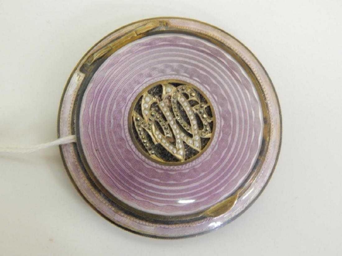 AUSTRIAN JEWELED GUILLOCHE ENAMEL STERLING COMPACT - 3
