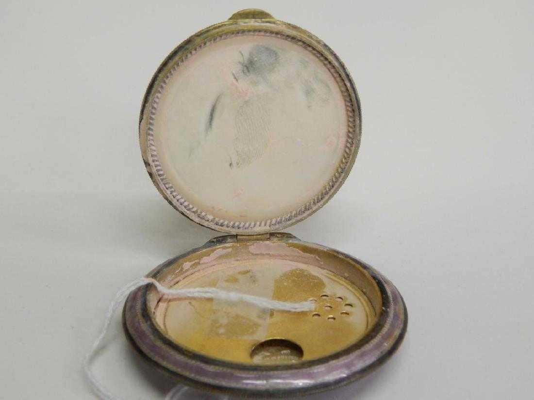 AUSTRIAN JEWELED GUILLOCHE ENAMEL STERLING COMPACT - 7