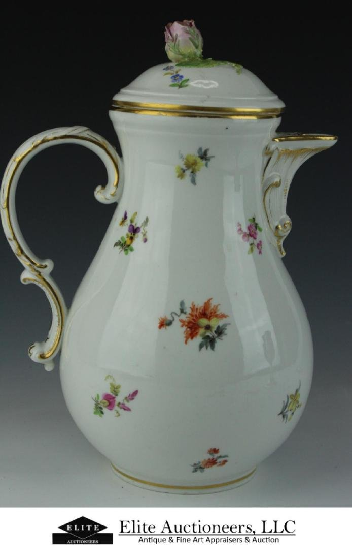 MEISSEN GERMAN PORCELAIN FLORAL SPRAY COFFEE POT