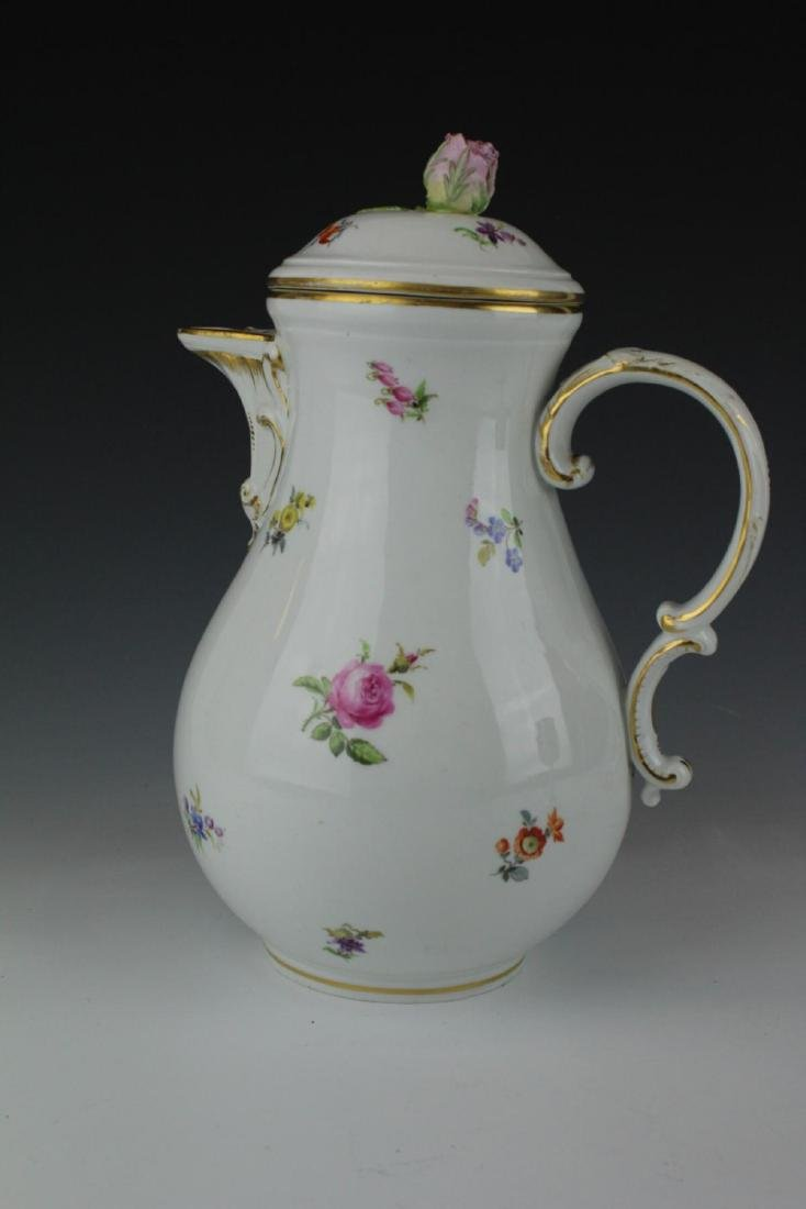 MEISSEN GERMAN PORCELAIN FLORAL SPRAY COFFEE POT - 4