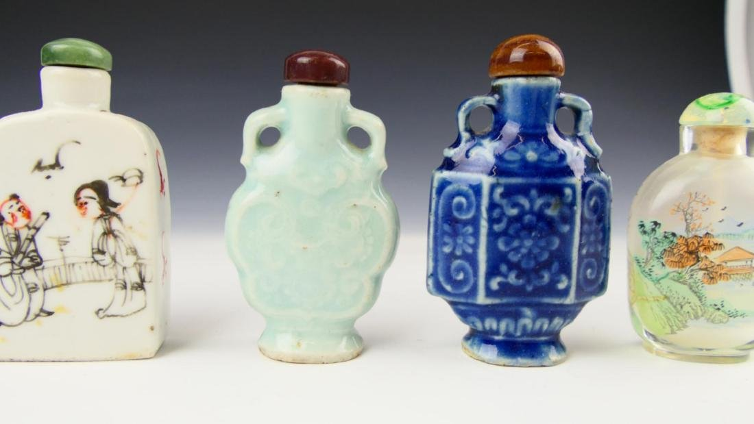 5 OLD CHINESE PORCELAIN GLASS SNUFF BOTTLES - 3