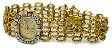 Vtg ROLEX LADIES 14K YELLOW GOLD DIAMOND 17J WATCH
