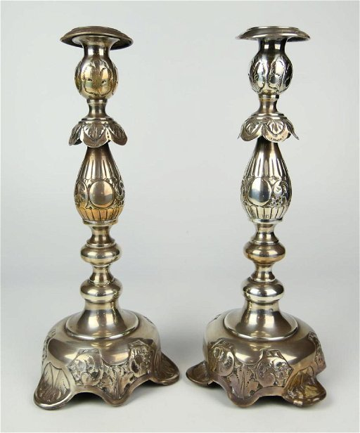 Pr ANTIQUE MOSCOW RUSSIAN 84 SILVER CANDLESTICKS