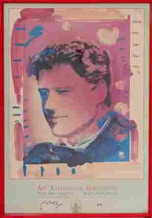 PETER MAX USA b1937 SIGNED 93 INAUGURAL POSTER