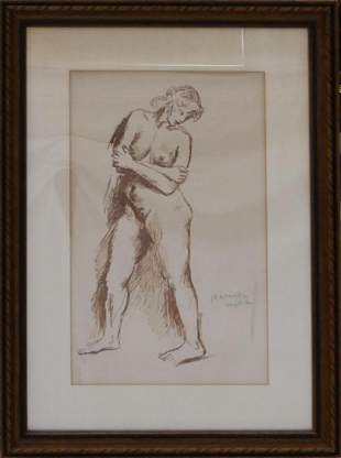 RAPHAEL SOYER USA 18991987 MARKER STUDY OF NUDE