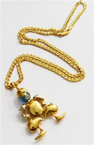 18K GOLD ITALIAN BLUE SPINEL MOVEABLE JESTER PEND