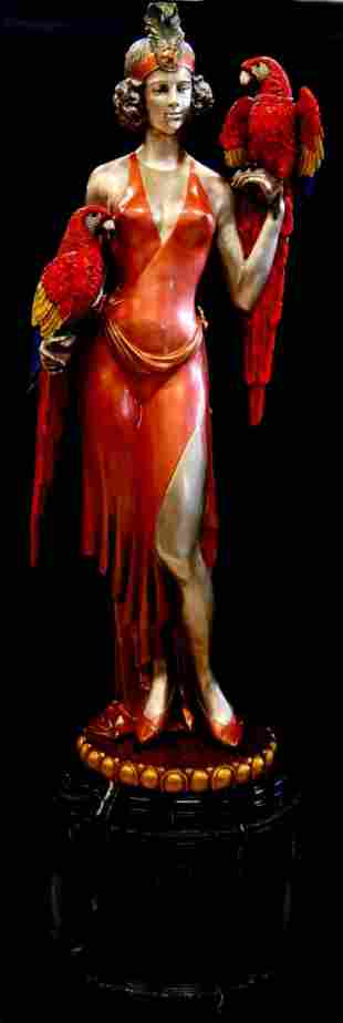 PALATIAL COLD PAINTED BRONZE PARROT LADY SCULPTURE