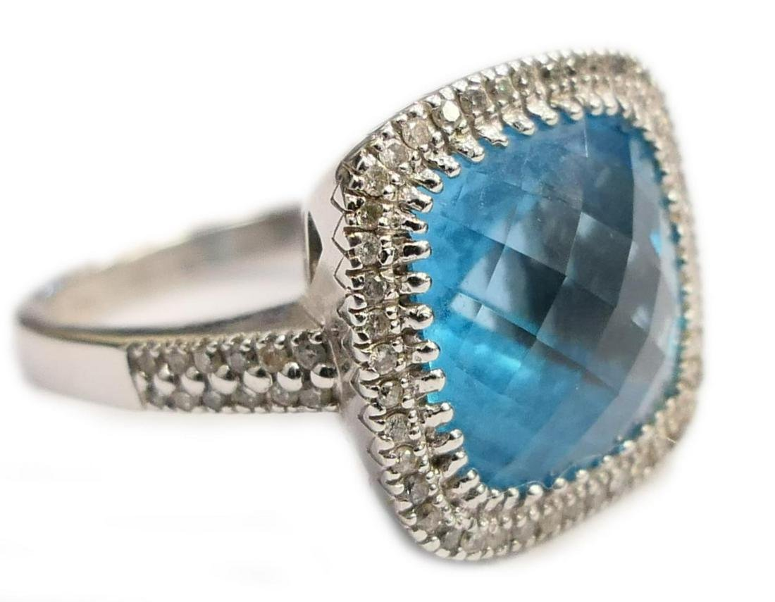 14K WHITE GOLD BLUE TOPAZ DIAMOND RING Sz 7.25