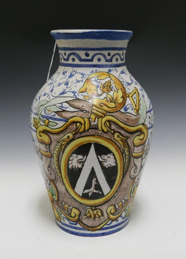 """ANNO 1698"" ANTIQUE ITALIAN FAIENCE POTTERY VASE"