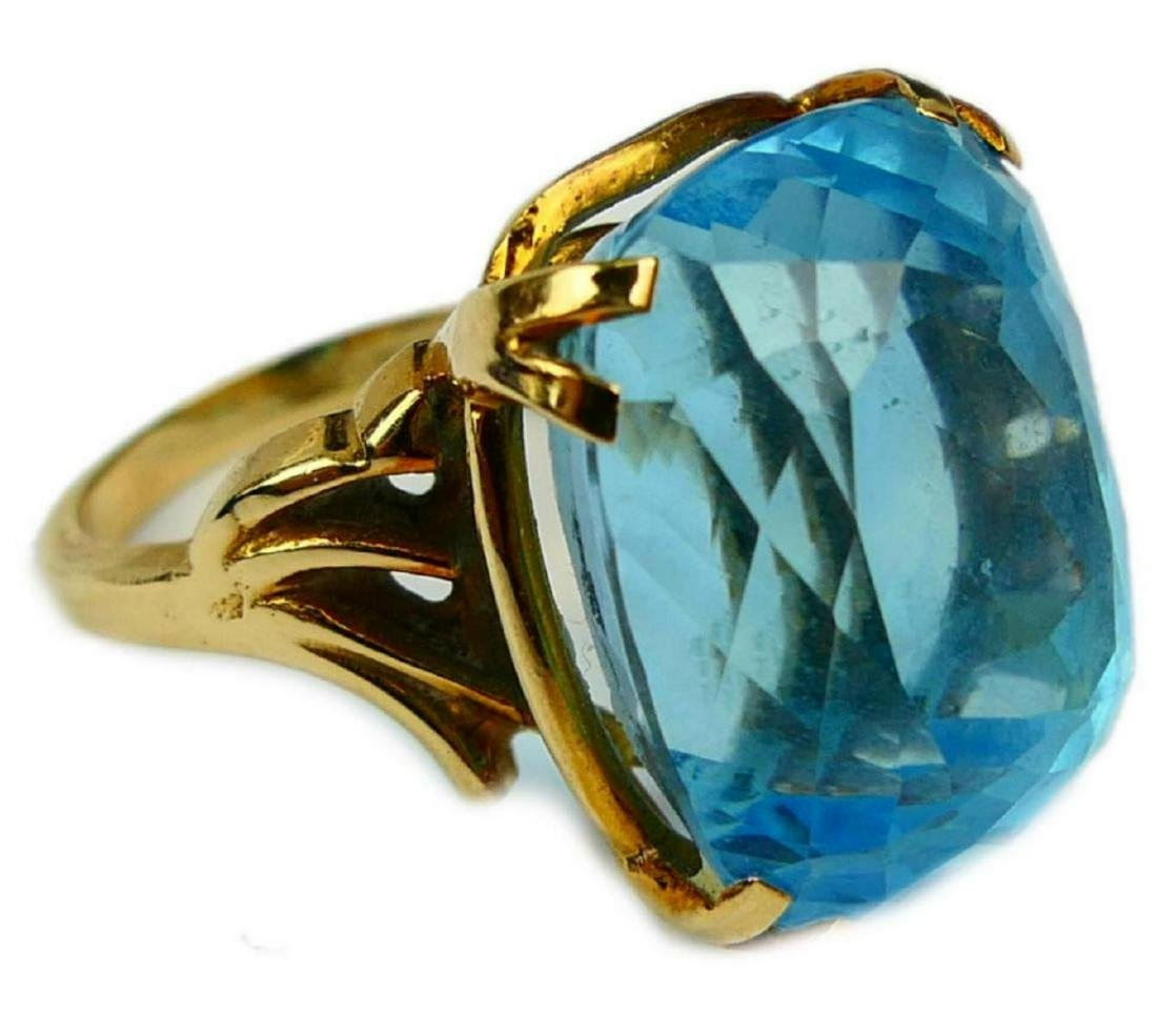 14K YELLOW GOLD LARGE BLUE TOPAZ RING Sz 6.25