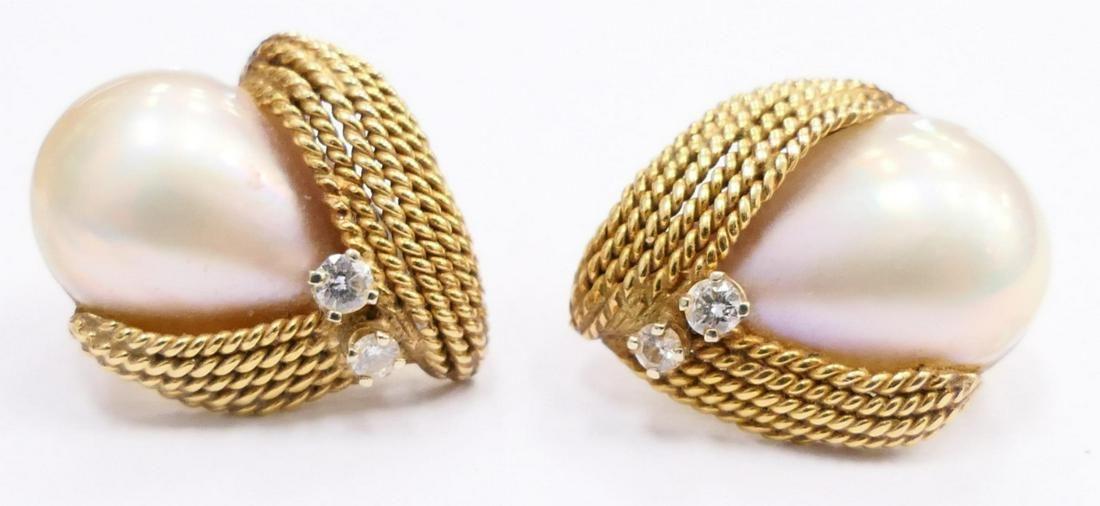 Pr 14K YG MABE PEARL DIAMOND OMEGA BACK EARRINGS
