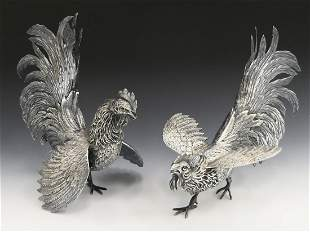 PAIR OF HEAVY PORTUGUESE 833 SILVER ROOSTERS