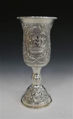 JUDAICA ORNATE LARGE STERLING KIDDUSH CUP