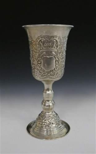 JUDAICA VERY ORNATE STERLING LARGE KIDDUSH CUP