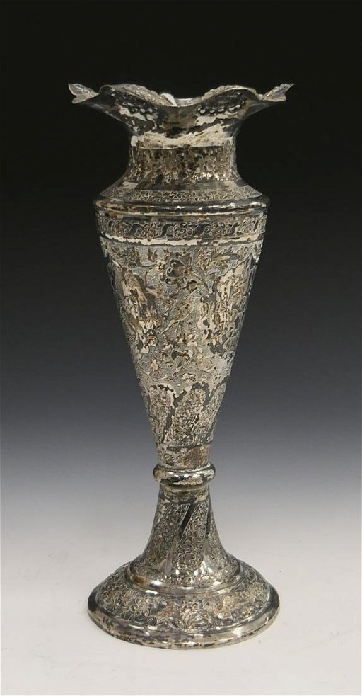 Persian Semi Antique Silver Trumpet Vase Etched Sep 10 2019 Elite Auctioneers Llc In Fl