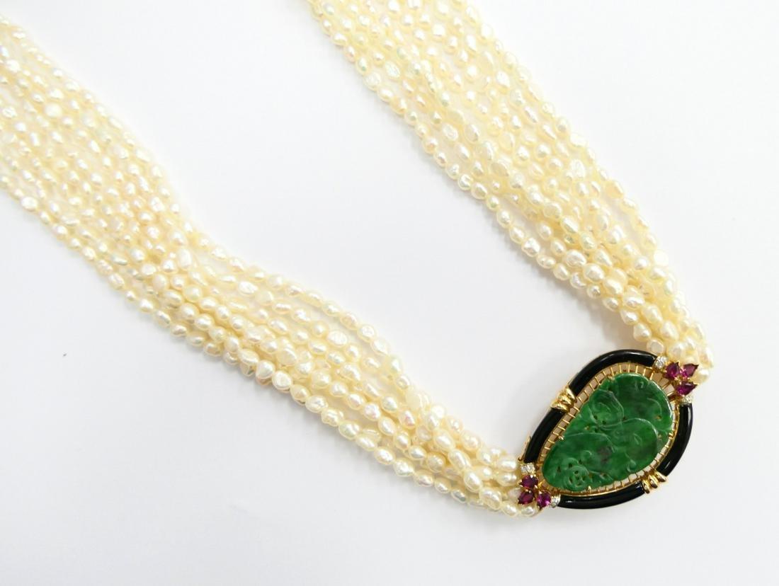 EXQUISITE 18K JADEITE DIAMOND RUBY PEARL NECKLACE