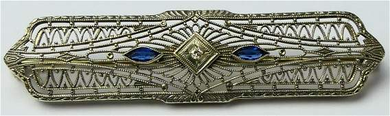 ART DECO 10K WHITE GOLD DIAMOND SAPPHIRE BROOCH