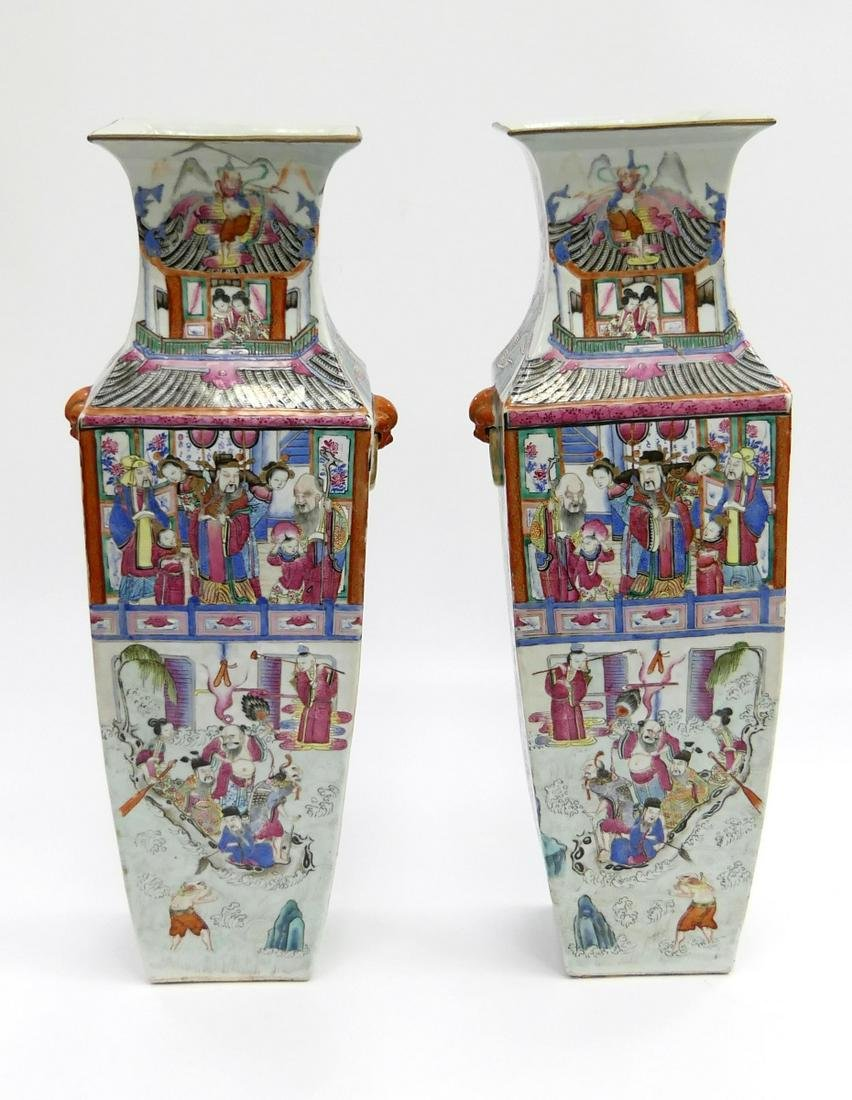 Pr CHINESE LARGE FAMILLE ROSE SQUARE FORM VASES