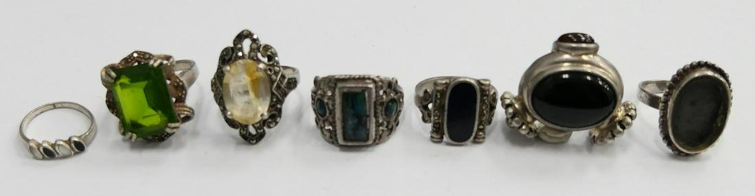 LOT OF (7) VINTAGE STERLING RINGS WITH STONES