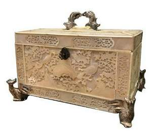 19th SPECTACULAR ASIAN MOTHER PEARLSILVER CASKET