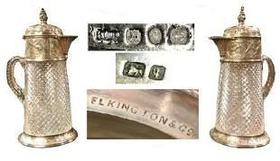 ANTIQUE ELKINGTON STERLING MOUNTED CLARET JUGS