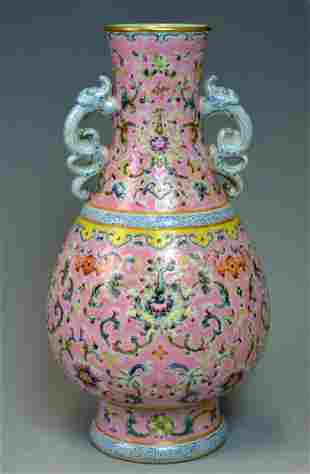 RARE CHINESE FAMILLE ROSE LOTUS BLOSSOMS VASE