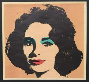 "RARE ANDY WARHOL ""LIZ"" IN PINK SIGNED LITHOGRAPH"