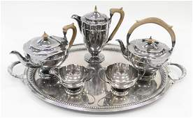 6pc MAPPIN & WEBB STERLING SILVER TEA SERVICE SET