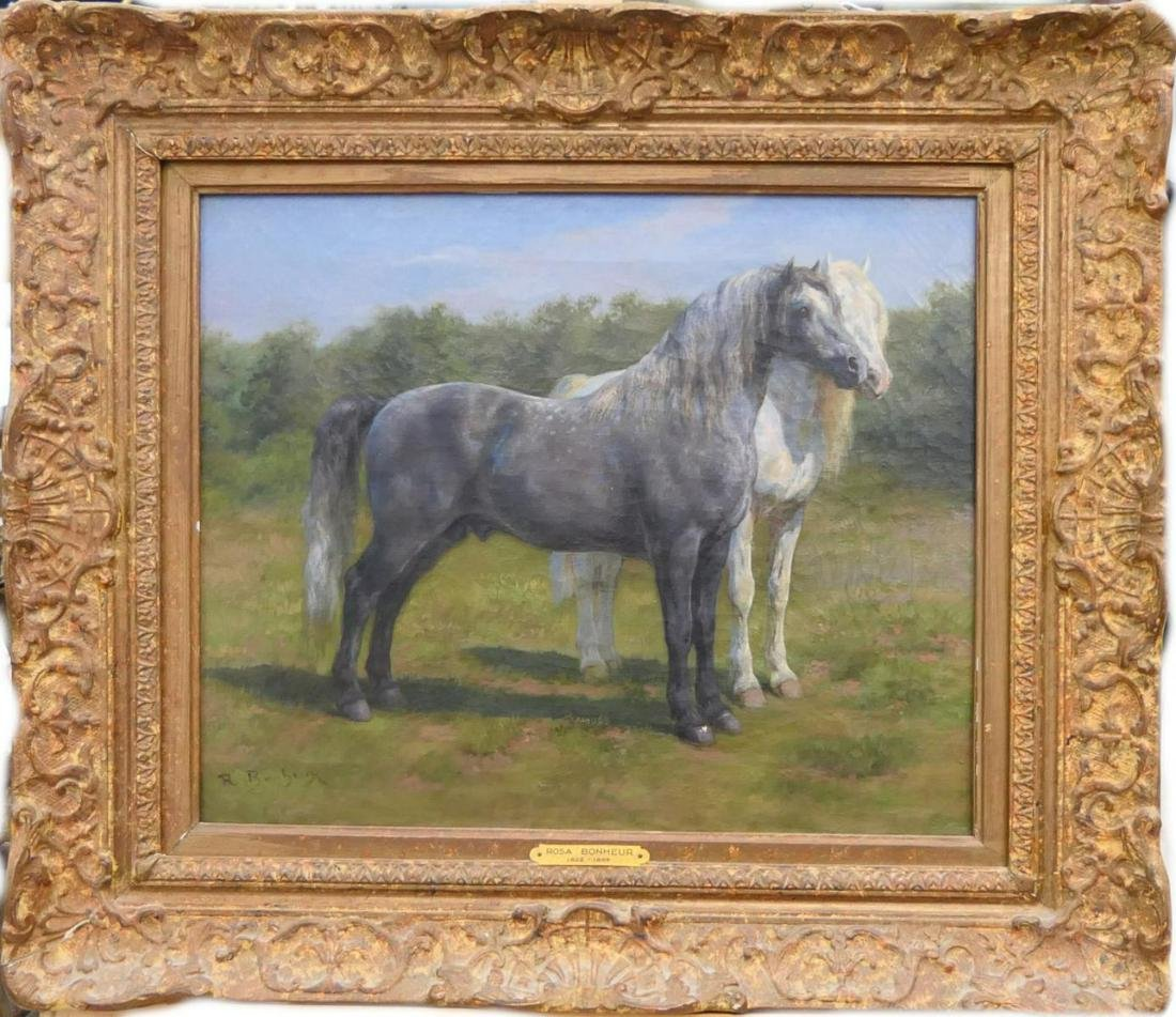 ROSA BONHEUR (USA 1822-1899) HORSES OIL ON CANVAS