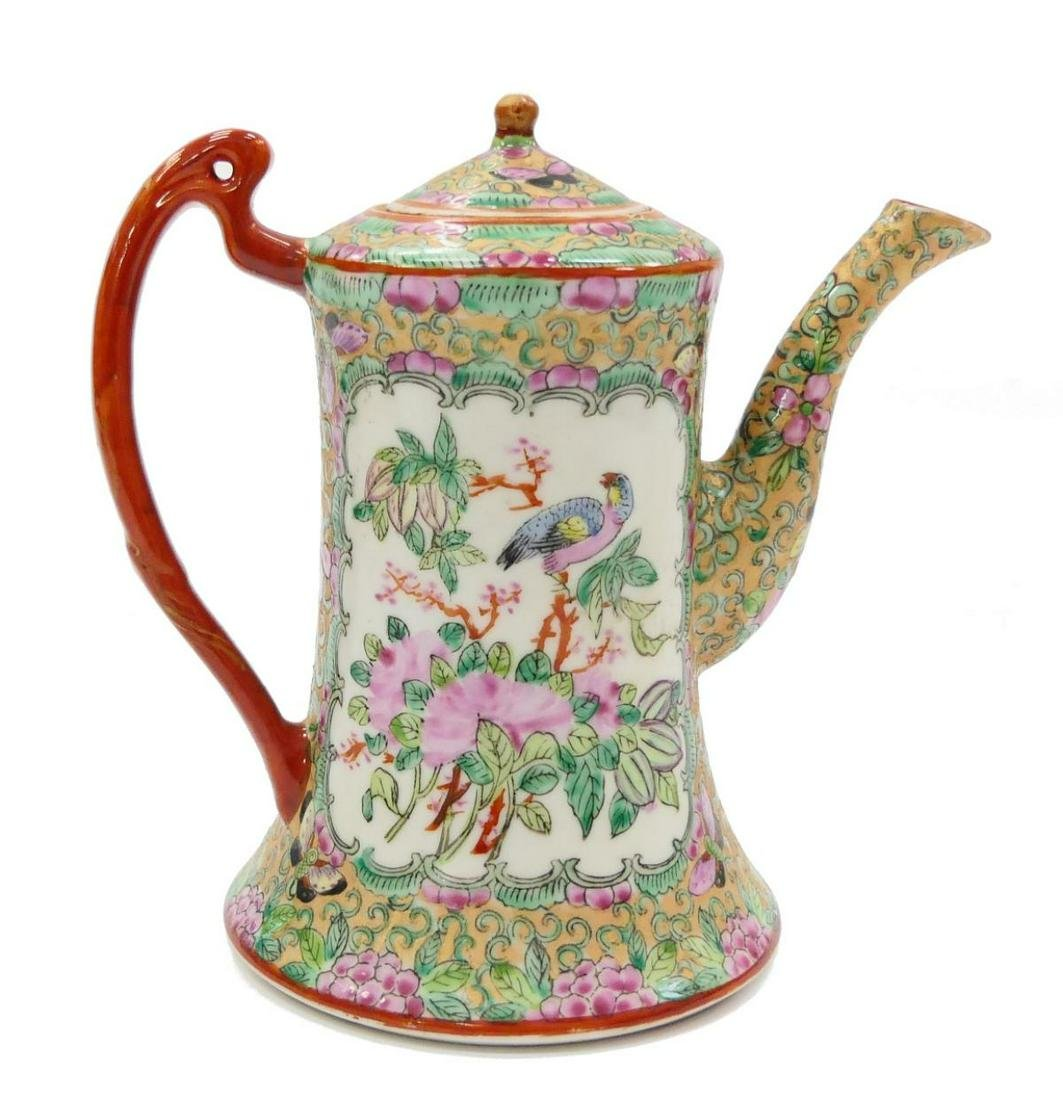 19th C CHINESE ROSE MEDALLION CANTON TEAPOT