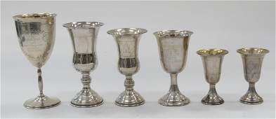 LOT OF 6 STERLING SILVER JUDAICA KIDDUSH CUPS