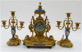 3pc HF PARIS SEVRES GILT BRONZE CLOCK GARNITURE