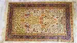 SEMI ANTIQUE PERSIAN TRADITIONAL WOOL CARPET BIRDS