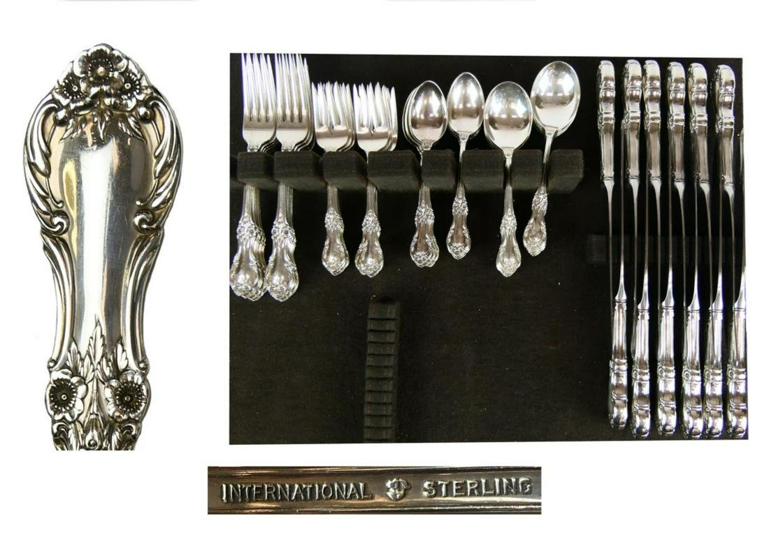 60pc INTERNATIONAL STERLING WILD ROSE FLATWARE SET
