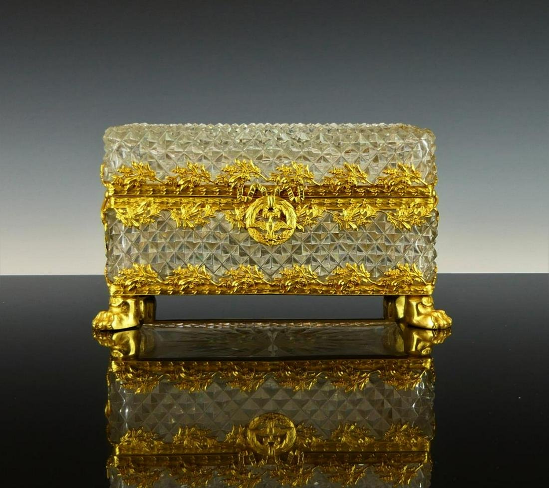19TH C.CRYSTAL DORE BRONZE FRENCH  FOOTED LG BOX