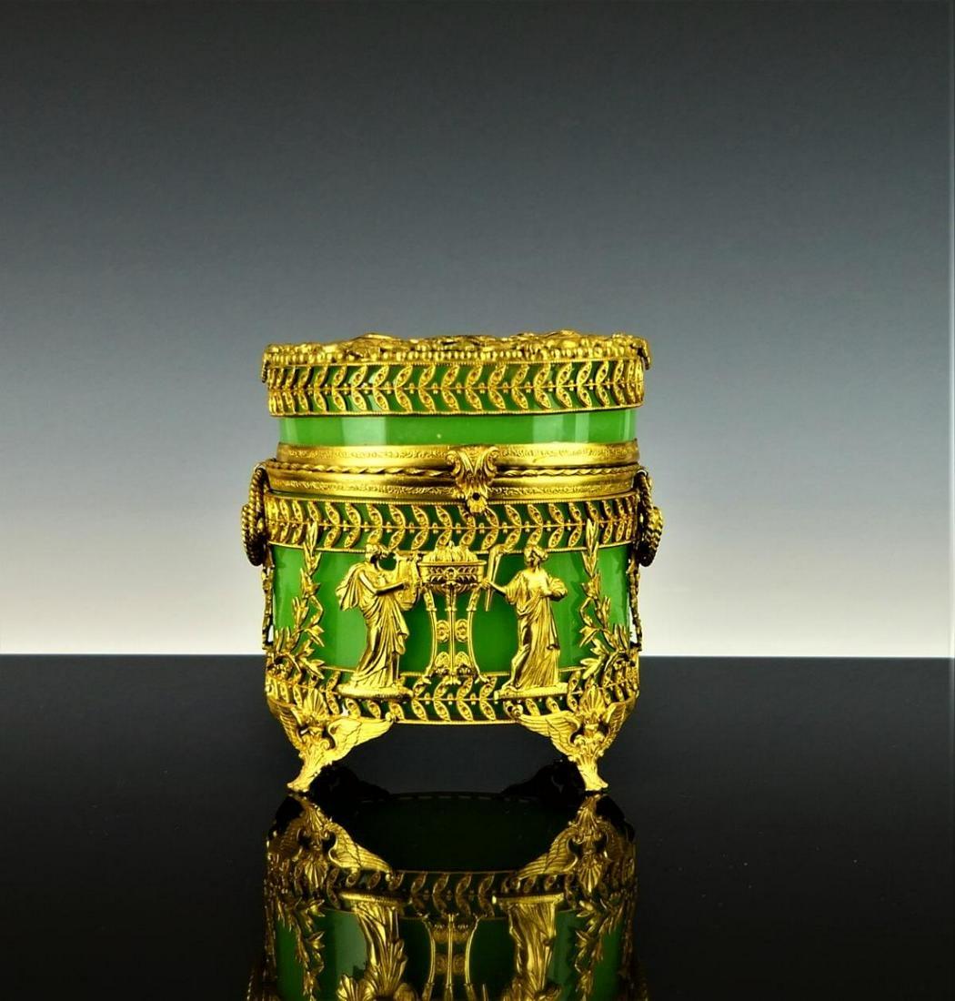 WONDERFUL ANTIQUE FRENCH OPALINE BOX DORE BRONZE