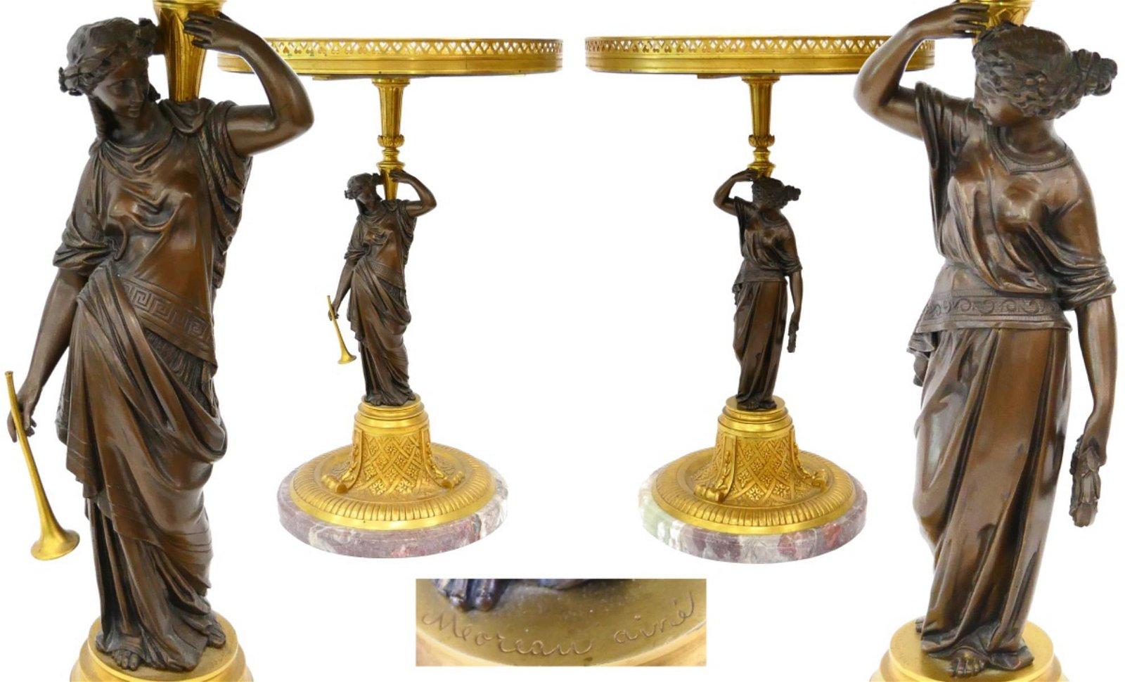 IMPORTANT PR OF FRENCH ORMOLU TABLES MOUREAU AINE