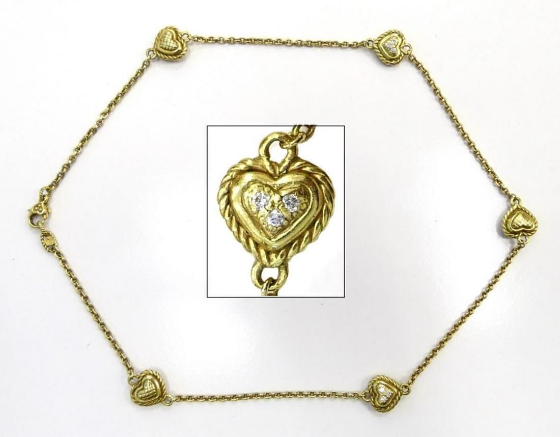 18KT Y.GOLD JUDITH RIPKA HEART & DIAMOND NECKLACE