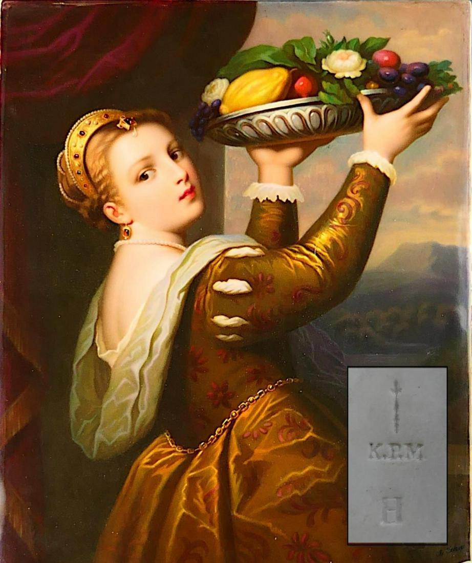 HUGE ANTIQUE K.P.M. PORCELAIN PLAQUE OF WOMAN