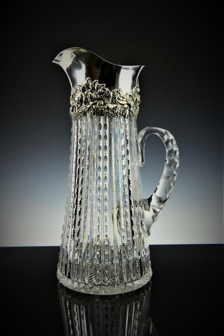 ANTIQUE CALDWELL LARGE PITCHER STERLING TOP