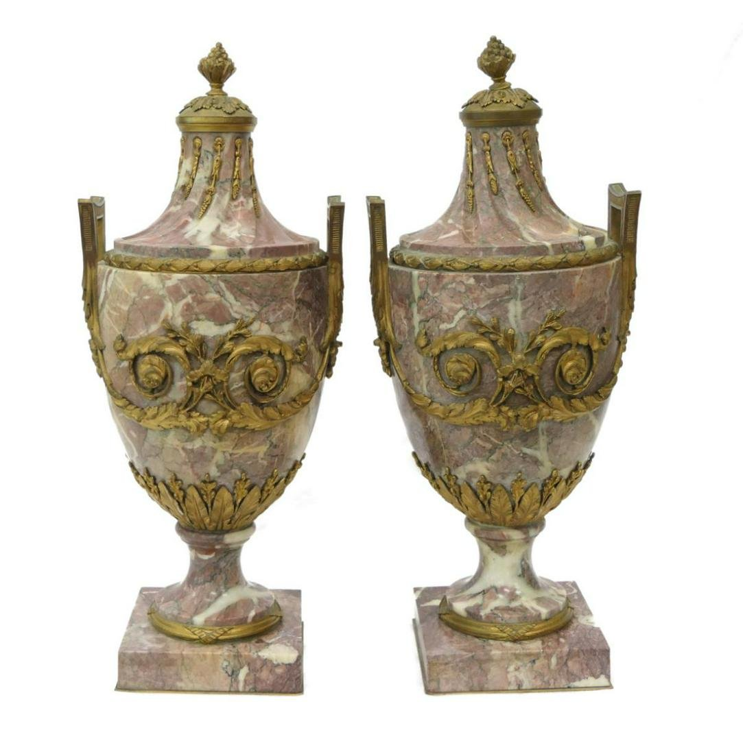 FRENCH 19TH CENTURY BRONZE 7 ROUGE MARBLE URNS