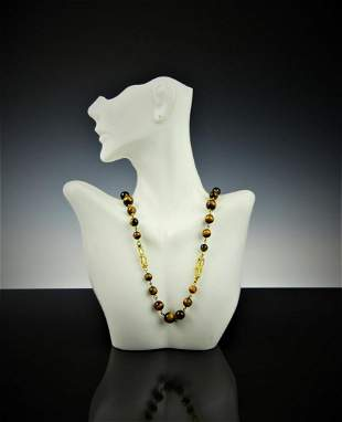CHINESE 18KT YGOLD NECKLACE WITH TIGER EYE